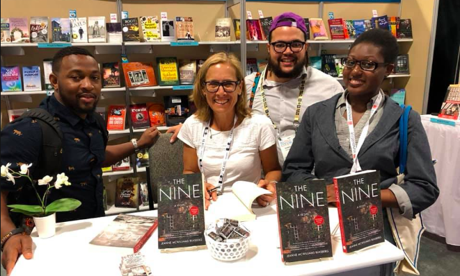 Jeanne Blasberg with three readers at the American Library Association Conference.