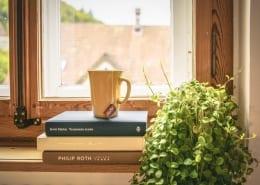 morning-ritual-coffee-writing-book-stack-plant-window