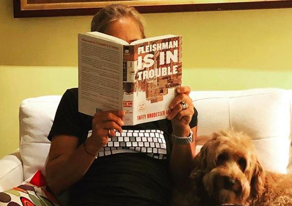 jeanne-blasberg-author-reading-with-dog-brady